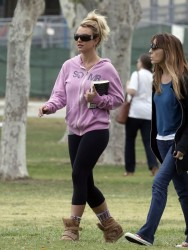 Britney Spears - watching her sons play soccer in LA 4/14/13