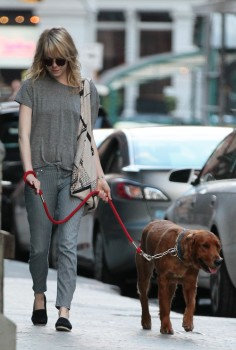 Emma Stone out walking Ren yesterday (June 15)