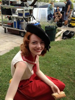 Emma Stone on set in France today