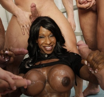 Hot black female body builder pornstar clover's dick