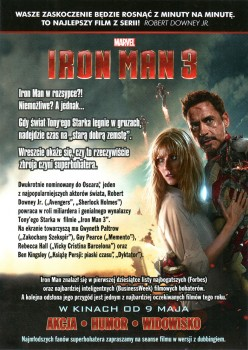 Tył ulotki filmu 'Iron Man 3'