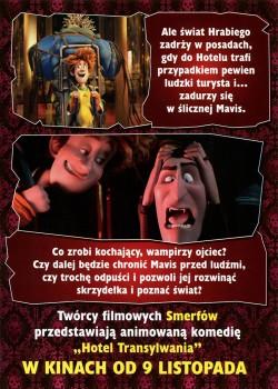 Tył ulotki filmu 'Hotel Transylwania'