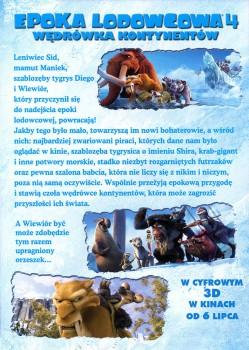 Tył ulotki filmu 'Epoka Lodowcowa 4'