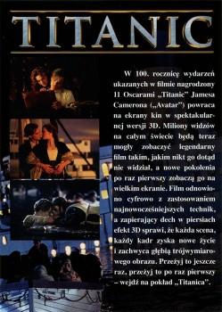 Tył ulotki filmu 'Titanic 3D'