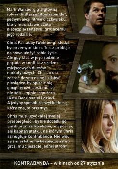 Tył ulotki filmu 'Kontrabanda'