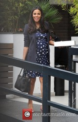 Rochelle Humes in a blue polka dot dress going off to a spa for her birthday 3/21/13