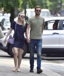Dakota Fanning Out and About NYC 5/28/15 nipping, braless, and leggy