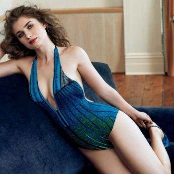 posing blue swimsuit Eve Hewson