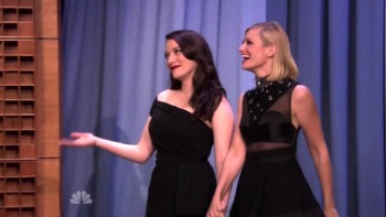 Kat Dennings & Beth Behrs on the Tonight Show 28 September 2015