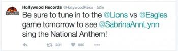 Sabrina Carpenter singing the national anthem at Lions vs Eagles on Nov. 26, 2015