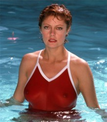 Susan Sarandon in a Red Swimsuit - Harry Langdon Photoshoot in 1982