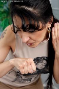 Spitting-Girls - Mara - Lick Mara's spitting fists clean again!