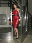 Kylie Jenner - Wearing A Red Latex Dress while leaving a studio in LA 2/1/16