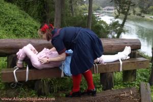 AliceInBondageLand - Public Park Sissy Bondage and Chastity Humiliation Schoolyard Bully