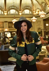 Nina Dobrev - Wearing Packers Jacket at Hotel 2/07/16