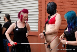 AliceInBondageLand - Folsom Street Fair Public Humiliation - Group FemDom Porn Punishment