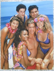 Elizabeth Berkley, Tiffani-Amber Thiessen, and Lark Voorhies in Bikinis - Saved By The Bell Cast Photo