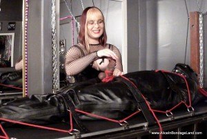 AliceInBondageLand - Ebony Muscleman Leather Sleepsack Bondage FemDom CBT Handjob