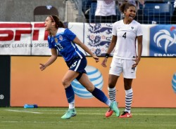 Alex Morgan in USA vs. France at the SheBelieves Cup in Nashville, TN, March 2016 x2